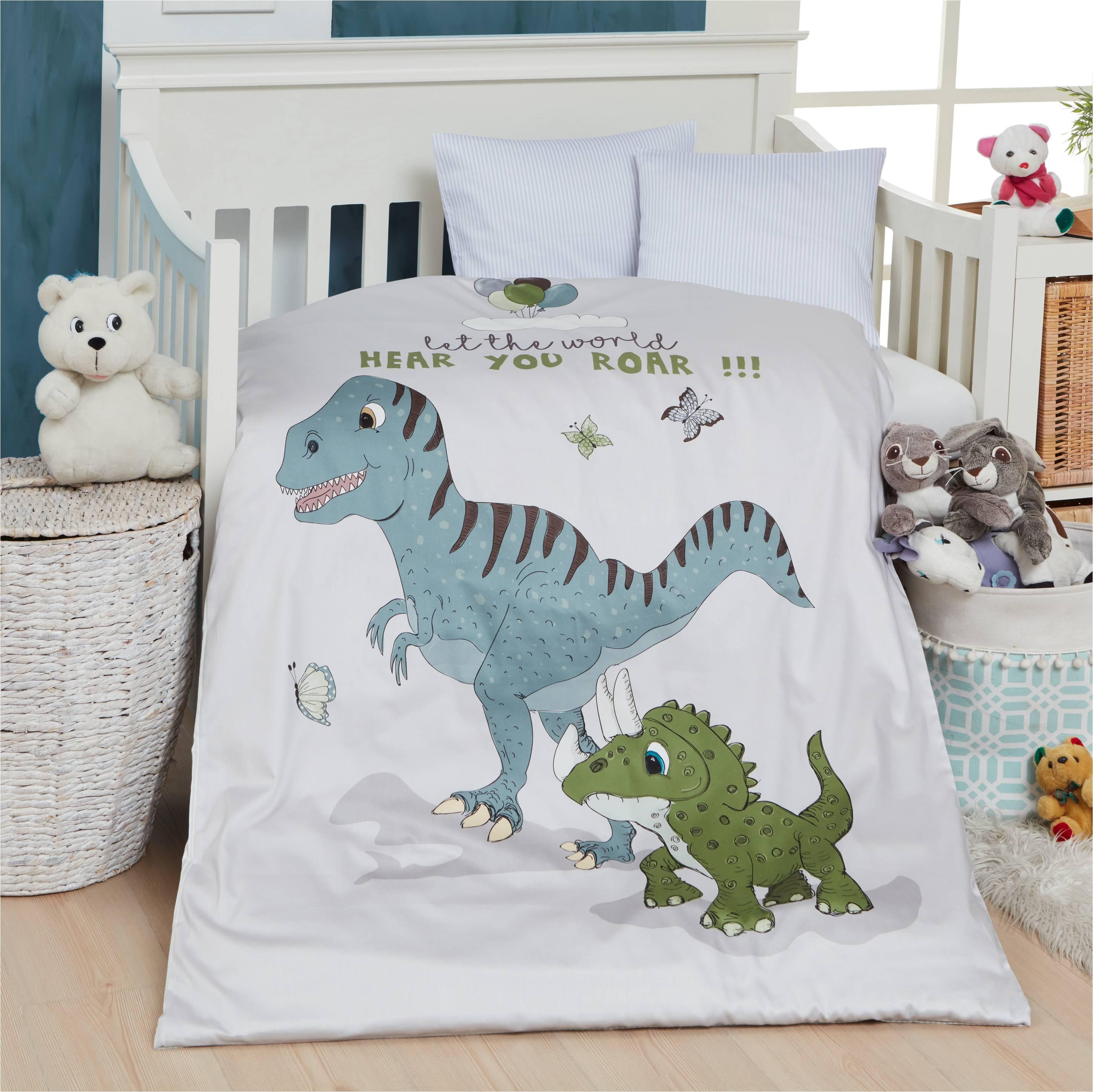 Picture of: Borne Sengetoj Med Print Af Dinosaurer 100×140 Cm